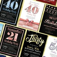 Birthday Invitations 18th 21st 30th 40th 50th 60th - Personalised Party Invites
