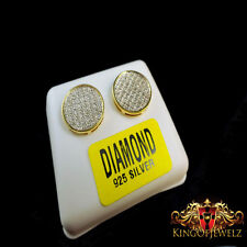 GENIUNE DIAMOND MENS LADIES CIRCLE DESIGNER 14K YELLOW GOLD FINISH FINE EARRINGS