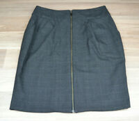 CUE Womens Black Checked Corporate Pencil Full Zip Midi Skirt Back Slit - Size 8