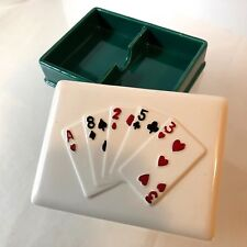 VINTAGE 1984 DOUBLE DECK PLAYING CARDS~CERAMIC~HOLDER~DIVIDED~SIGMA TASTESETTER