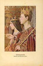 Krönungsmarsch Krönung Kunstdruck von 1917 Hein König Königin Krone Zeremonie