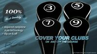 NEW BLACK FULL COMPLETE 3 5 7 9 WOOD SET DRIVERS GOLF CLUB HEAD COVERS HEADCOVER