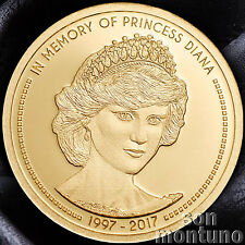 In Memory Of PRINCESS DIANA - 1/100 OZ 11mm 24k Gold Coin - 2017 COOK ISLANDS $5