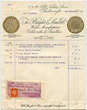 GB 1938 Orologi Gioielleria Scarborough PREMIO MEDAGLIA IN ORO STAMPA RICEVUTA 2d