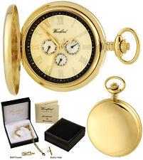 Woodford Hunter Orologio da taschino, 3-Dial Giorno/Data, Quarzo, GP, INCISIONE GRATUITA (1244)