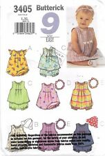 UNCUT sewing pattern Butterick 3405 infant girls L-XL romper panties hat f/folds