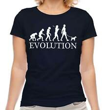 Parson Russell Terrier Evolution Of Man Ladies T-Shirt Top Dog Walker Walking