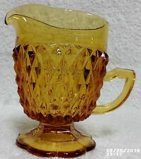 Indiana Glass Amber Diamond Point Pedestal Creamer Pitcher Mint Free Ship
