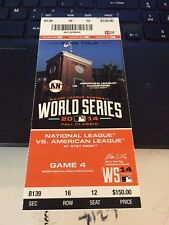 2014 SAN FRANCISCO GIANTS VS KANSAS CITY ROYALS WORLD SERIES GAME #4 TICKET STUB