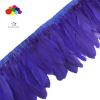 2 Meter geese feather fringe bleached Navy Goose Feather Trims with Satin Ribbon