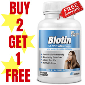 Biotin 120 Capsules 10,000mcg - Maximum Strength - Hair Skin Nails QTY DISC BUY