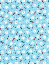 Dentist Fabric - Tooth Floss Toothpaste Toss Blue - Timeless Treasures YARD