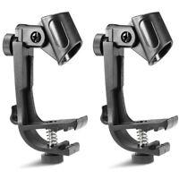 2pcs Pince Réglable Porte  Montage Microphone Support Micro Noir