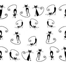 Cat Water Transfer Slide Decal Sticker Nail Art Tips To Decor XF1442 Black LW