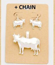 "2"" BIG Pendant Earrings + Chain Necklace Silver Cow"