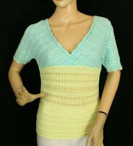 Etincelle Couture Femmes Tricot Haut Bleu Paillettes Taille T2 Italie (V883)