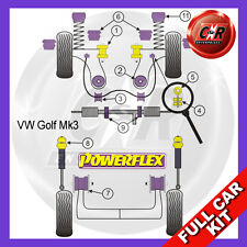 VW Golf Mk3 2WD 92-98 Powerflex Complete Bush Kit Power Steering, 5 Stud Wheels