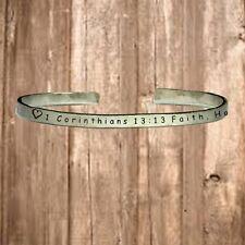 "1 Corinthians 13:13 Faith Hope Love   Cuff Bracelet Jewelry Hand Stamped 1/4"""