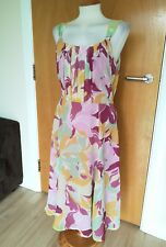 Ladies LONG TALL SALLY Dress Size 12 Pink Yellow Fit and Flare
