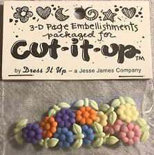 Cut It Up Jesse James Buttons Colorful Shank Flower Floral Buttons Plastic