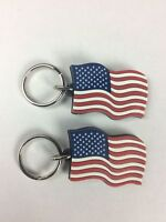 WAVING US FLAG RUBBER PATRIOTIC KEYCHAIN (2) AMERICAN FLAG