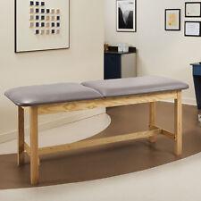 """Treatment Exam Table Wooden H-brace frame Adj backrest 27"""" Cream"""