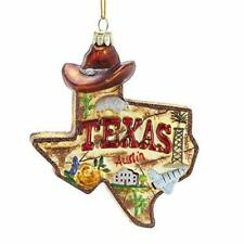 Kurt Adler State of Texas Outline City Scapes Glass Christmas Ornament C7589 NEW