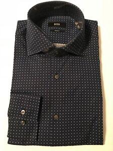Hugo Boss 100% Cotton Jaron Slim Fit Spread Collar Blue Pattern Shirt 15 1/2