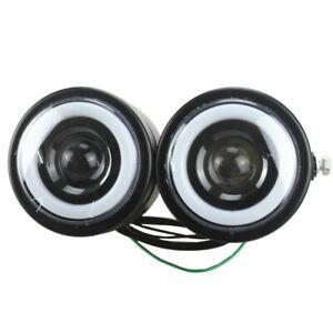 Motorcycle Twins Dual Headlight LED Angel Eyes Headlamp For Harley Honda Suzuki
