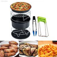 7Pcs Air Fryer Accessories Set Chips Baking Basket Pizza Pan Home Kitchen Tool