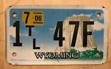 "WYOMING TRAILER CYCLE SIZE  LICENSE PLATE "" 1 TL 47 F "" WY TRL"