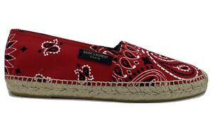 $500 Saint Laurent Red Canvas Espadrilles size US 8, Made in Spain