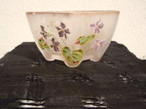 Coupe pâte de verre décor violettes style Legras vers 1920