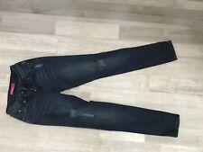 Girls Denim Blue Stone Washed Jeans WannaBettaFit YMI SkinnyStretch Ripped Sz 8