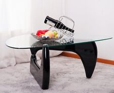 Isamu Noguchi Style Coffee Table with Glass Top Glass  Side Coffee Table-Black