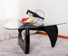 Isamu Noguchi Style Coffee Table with Glass Top, Black