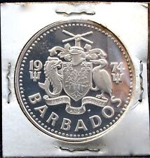 BARBADOS 5 DOLLARS 1974 PROOF COIN KM 169 FINE SILVER 800.