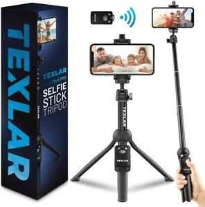 Texlar Selfie Stick Tripod with Remote - for iPhone 12, 11, XR, X, 8, 7, & More