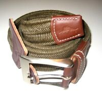 Tommy Bahama Mens Braided Stretch Canvas & Leather belt Olive Green Brown NWT