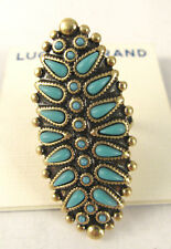 Lucky Brand Gold Tone Squash Blossom Faux Turquoise Oval Ring
