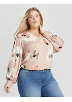 Women's Plus Size Floral Print Long Sleeve V-Neck Blouse Size 3X