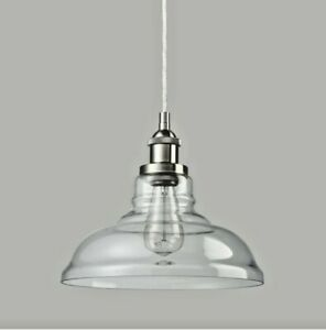 Set of 2 Claxy Industrial Edition Vintage Style Hanging Glass Light Pendant
