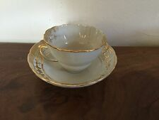 Antique Chinese Export Porcelain Tea Cup and Saucer Gold Gilt White 18th 19th c.