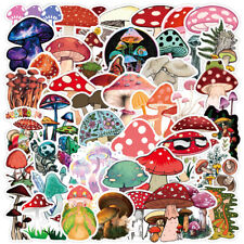 50Pcs Cute Plant Mushroom Stickers For Laptop Skateboard Helmet Luggage Wall Diy