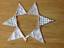 Bunting per Tende Tie-Backs ~ Grigio & Bianco Percalle Polka Dot Pois e stelle cadenti