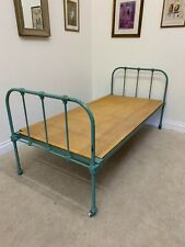 IRON SINGLE BED GREEN WHEELS OLD FASHIONED HOSPITAL BED