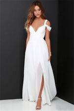 Chiffon Beach Wedding Dresses White/Ivory Split Backless Garden Bridal Gown A13
