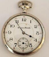 Antique Working 1912 HAMPDEN Wm. McKinley 17J Railroad RR Gents Pocket Watch 16s