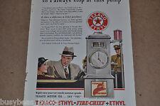 1933 Texaco advertisement, TEXACO Fire-Chief gasoline, Gas pump, Texaco globe