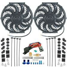 """DUAL 12"""" INCH ELECTRIC RADIATOR PULLER/PUSHER COOLER FAN 3/8 INCH THERMOSTAT KIT"""